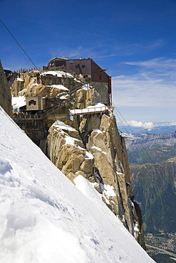 Funicular station at the Aiguille Du Midi, Chamonix, Mont Blanc Massif, Alps, France, Europe