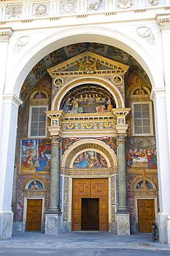 Entrance of Aosta Cathedral, La Cattedrale di Aosta, Piazza Giovanni XXIII, Aosta, Aosta Valley, Valle d'Aosta, Italy, Europe