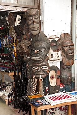 African masks for tourists, Stone Town, Zanzibar, Tanzania, Africa
