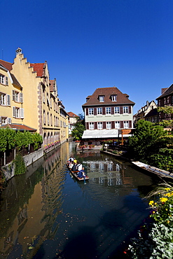 Historic centre with restaurants, Colmar, Alsace, France, Europe