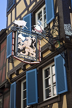 Historic restaurant sign, historic centre, Colmar, Alsace, France, Europe