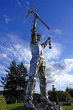 "Statue, ""The Minor Brownhills"", 12 m high, artist John McKenna, Chester Road, Brownhills, Staffordshire, England, United Kingdom, Europe"