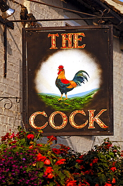 Restaurant sign, The Cock, High Street, Hemingford Grey, Cambridgeshire, England, United Kingdom, Europe