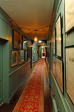 Corridor, interior furnishings around 1860, at Walmer Castle, 1540, Walmer, Deal, Kent, England, United Kingdom, Europe