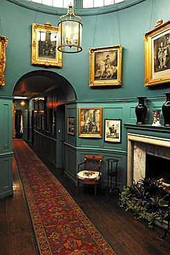 Corridor with light dome, interior furnishings around 1860, at Walmer Castle, 1540, Walmer, Deal, Kent, England, United Kingdom, Europe