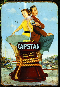 "Old advertising sign for ""Capstan cigarettes, around 1950, Armscote, Warwickshire, England, United Kingdom, Europe"