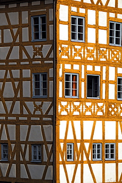 Detail of the timber-framed old town hall, 1461, Obere Bruecke 1, Bamberg, Upper Franconia, Bavaria, Germany, Europe