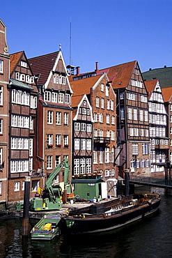 Former warehouses between Deichstrasse and Nikolaifleet Streets, Hanseatic City of Hamburg, Germany, Europe