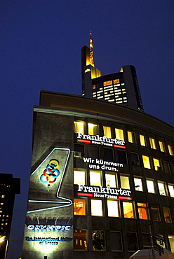 Neon neon sign on Friedensstrasse street, in the back the Commerzbank Tower, Frankfurt am Main, Hesse, Germany, Europe