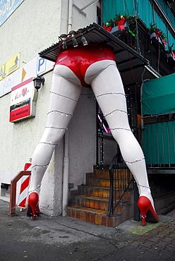 Oversized sexy legs at the entrance to the Amor Eroscenter, Frankfurt am Main, Hesse, Germany, Europe