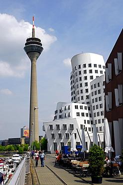 Rheinturm tower and Neuer Zollhof, Arts and Media Centre Rheinhafen, building by the architect Frank O. Gehry, Gehry buildings at the Handelshafen, Medienhafen, Rheinhafen, Duesseldorf, North Rhine-Westphalia, Germany, Europe