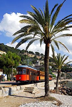 Bay with beach and palm trees, tram in Puerto Soller, Port de Soller, tranvia nach Soller, Mallorca, Majorca, Balearic Islands, Spain, Europe