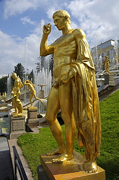 Golden statues at the Great Cascade in front of the Palace, Peterhof, Petrodvorez, Saint Petersburg, Russia, Europe