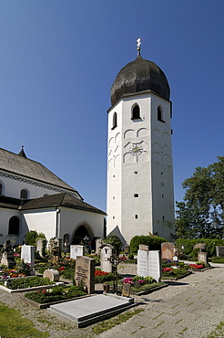 Frauenwoerth Munster with bell tower and cemetery, Fraueninsel, Lady's Island, Lake Chiemsee, Bavaria, Germany, Europe