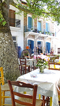 Local tavern in the small mountain village of Manolates on the Greek island of Samos in the Eastern Aegean Sea, Greece, Europe