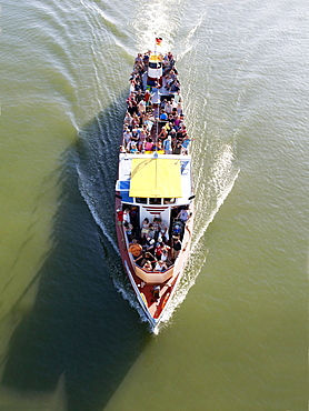 Topview of an excursion boat on the Rhine