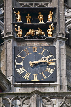Clock tower of the late Gothic Town Hall of Middelburg, Walcheren, Zeeland, Netherlands, Europe
