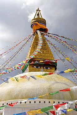 UNESCO World Heritage Site, Tibetan Buddhism, architecture, Bodhnath Stupa, Boudhanath, Boudha, two eyes looking down, colorful prayer flags, Kathmandu, Nepal, Himalaya, Asia