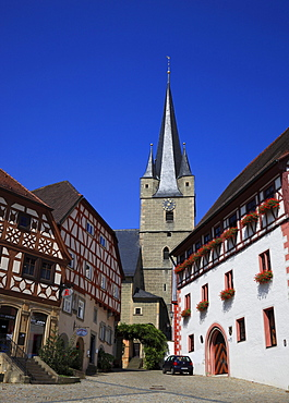 Upper Market Square and St. Michael's Church in Zeil am Main, Hassberge district, Lower Franconia, Bavaria, Germany, Europe