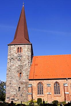 Gothic St. Johanniskirche church in Petersdorf, Fehmarn island, Ostholstein district, Schleswig-Holstein, Germany, Europe
