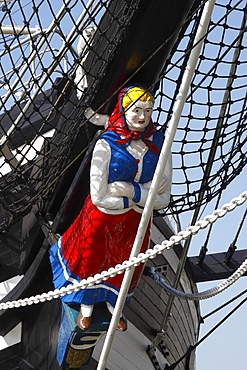 """Historic sailing ship """"Seute Deern"""", museum ship with figurehead in the old harbour of Bremerhaven, Bremen, Germany, Europe"""