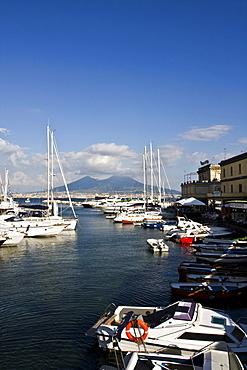 Volcano Vesuvio from small port of Borgo Marinaro, Naples, Campania, Italy, Europe