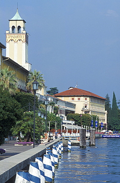 Waterfront with the Grand Hotel in Gardone Riviera, Lake Garda, Italy, Europe