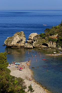 Bay, swimming paradise, Isole Bella, Taormina, province of Messina, Sicily, Italy, Europe