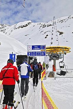 Chair lift to the Wildspitz mountain, Stubai glacier, Tyrol, Austria, Europe