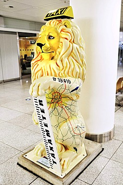 """""""Taxi lion"""" with phonenumber, Loewenparade, MUC II Airport, Munich, Bavaria, Germany, Europe"""