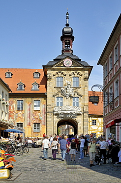 Old town hall standing on piles in the middle of the Regnitz river below, Bamberg, Franconia, Bavaria, Germany, Europe