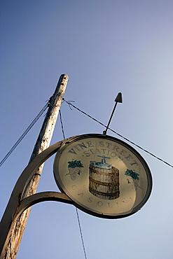 Old wine shop sign in Healdsburg, Sonoma County, California, USA, North America