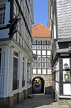 Old town hall, alley, half-timbered houses, historic town, Hattingen, North Rhine-Westphalia, Germany, Europe