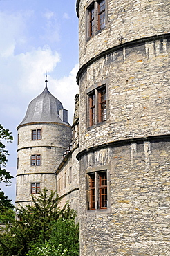 Towers, Wewelsburg, triangular castle, former Nazi cult and terror center of the ss, today historical museum, hostel, Bueren, Paderborn, North Rhine-Westphalia, Germany, Europe