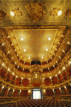 Illuminated auditorium, Cuvillies Theater, Munich, Upper Bavaria, Bavaria, Germany, Europe