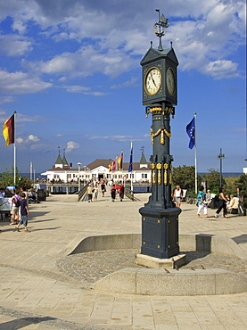 Square at the pier in the seaside resort of Ahlbeck with historical clock, Usedom Island, Mecklenburg-Western Pomerania, Germany, Europe