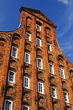 Historical residential house with typical gable in the historic center, Luebeck, Schleswig-Holstein, Germany, Europe