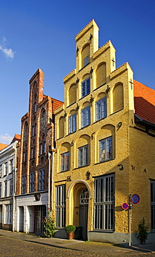 Historical residential houses with typical stepped gables in the historic center of Luebeck, Schleswig-Holstein, Germany, Europe
