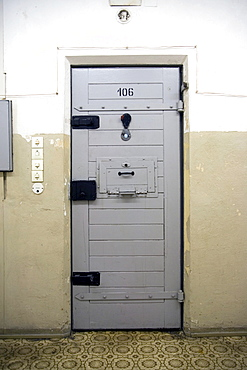 Locked cell door, new building, Berlin-Hohenschoenhausen memorial, former prison of the GDR's secret service, Berlin, Germany, Europe