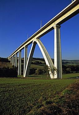 Modern ICE Railway viaduct near Melsungen, Hesse, Germany