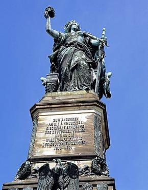 Germania Statue, Niederwald Denkmal monument near Ruedesheim, Hesse, Germany