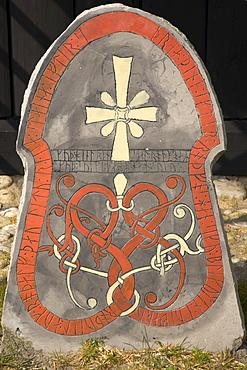 Christion symbols on a rune stone, at the Viking Museum in Bork on Ringkoebing Fjord, West Jutland, Denmark, Europe