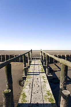 Boardwalk over the muddy Wadden sea in the Nationalpark Schleswig Holsteinisches Wattenmeer, Schleswig Holstein Wadden Sea National Park, Unesco World Heritage, Schleswig-Holstein, Northern Friesland, Northern Germany, Germany, Europe