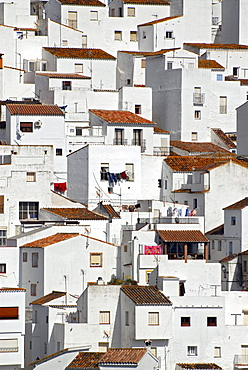"The white houses of Casares, one of the ""Pueblos Blancos"" in the province of Malaga, Andalusia, Spain, Europe"