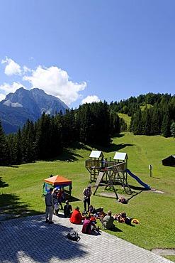Mittenwalder Barfusspfad, Mittenwald barefoot path at the Kranzberg mountain, Mittenwald, Werdenfelser Land, Upper Bavaria, Germany, Europe