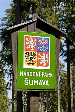 Sign for the Czech National Reserve Sumava, Dreisessel, Bavarian Forest, Lower Bavaria, Germany, Europe