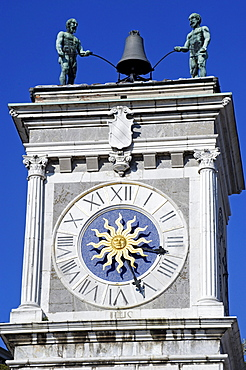 Clock tower, Torre dell'Orologio, Piazza Liberta, Udine, Friuli-Venezia Giulia, Italy, Europe