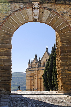 Arco de los Gigantes arch with the castle church Santa Maria, Antequera, Andalusia, Spain, Europe