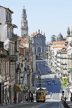 City center, Torre dos Clerigos church in the back, Porto, North Portugal, Europe