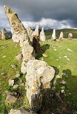 Zorats Karer, 6000 B.C., stoneage observatory, menhir of Karahunj, Cara Hunge, Armenia, Asia
